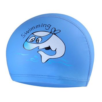 PU Fabric Cute Cartoon Animal Dolphin Kids Children Swimming Cap Waterproof Protect Ears Long Hair Boys Girls Swim Pool Caps Hat