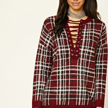 Lace-Up Plaid Sweater