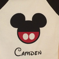 Mickey Mouse or Minnie Mouse Disney Inspired Raglan Shirt Personalized Custom