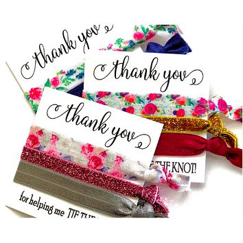 THANK YOU Hair Tie Favor | Floral Hair Tie Favor | Bridal Shower Favor | Wedding Favor