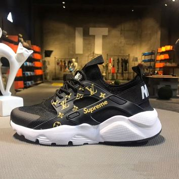 Best Online Sale Nike Air Huarache Run Ultra x LV x Supreme Black White Sport Shoes Running Shoes