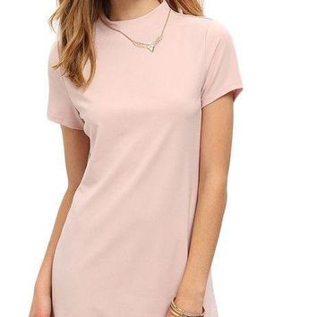 COLROVIE Light Pink Mock Neck Dolphin Hem Shift Dress Female Summer Casual Wear Short Sleeve Straight Dress