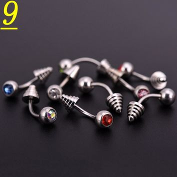 10pcs/lot Mix Colors Crystal Stainless Steel Ball Horseshoes Barbell Eyebrow Nose Navel Belly Tongue Rings Body Piercing Jewelry
