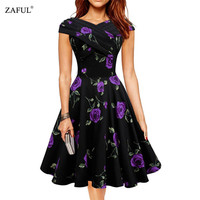 Women plus size clothing Audrey hepburn 50s Vintage Rose Print Dress Summer style Retro Swing Casual print