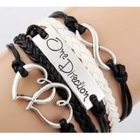 One Direction love Infinity Black and White bracelet
