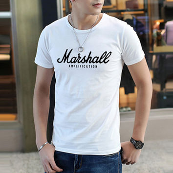 "EMINEM ""Marshall"" Letter Printed Men T-Shirt summer hip hop fitness White tshirt homme New Cotton Leisure fashion brand clothing"