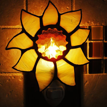 Handmade Stained Glass Night Light ~ Yellow  Sun Flower ~Yellow Flower ~ Home Decor ~ Gifts under 25