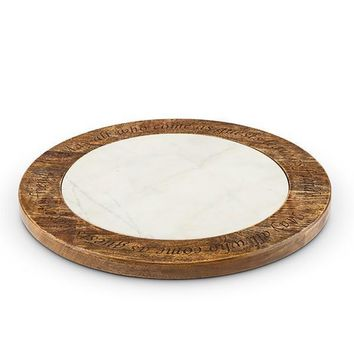 GG Collection Marble and Wood Lazy Susan