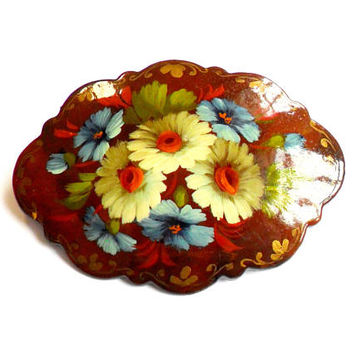 Vintage Lacquer Flower Brooch - Hand Painted - Brown Cream Blue - Daisy Floral - One of a Kind - Broach Pin - Wood Wooden Brooch