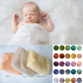 Merino Wool Felted Wrap Wool Layer Roving Fluff Baby Newborn Photo Prop Basket Filler Fluff Photography Prop Wool Basket Filler
