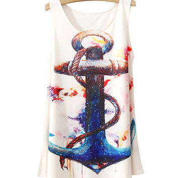 White Eagle And Anchor Print Tank Top