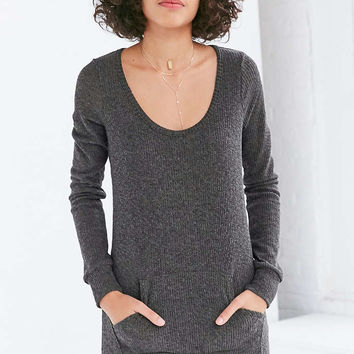 BDG Waffle-Knit Kangaroo Pocket Mini Dress - Urban Outfitters