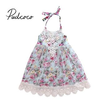 Cute Kids Baby Girls Lace Floral Dress New Arrival Summer Tulle Party Dresses Gown Formal Sundress