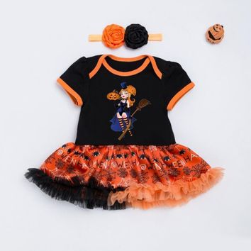 Halloween Baby Costume Baby Girls Boys Rompers Newborn Halloween Pumpkin Jumpsuits Dress Cartoon Baby Rompers with Headband Set