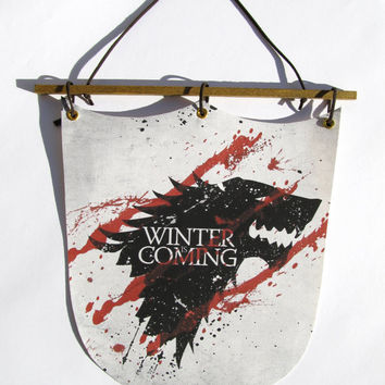 Game Of Thrones - Stark, Winter Is Coming - Wall Hanging Banner Flag, Cotton Canvas, Digital print, Home Decor