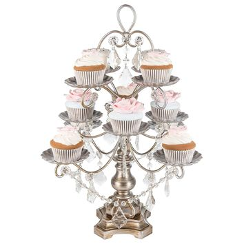 Madeleine Collection' 12 Piece Dessert Cupcake Stand Display Tower with Crystal Dangles (Silver)