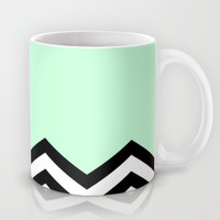 Mint Chevron Piece Mug by dani