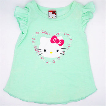 2016 kids girl clothes t-shirt whosale baby choses cotton kitty girl tops china cheap names top 100 children t shirts xst001 1ps