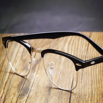 Black Vintage Inspired Classic Horned Rim Half Frame Clear Lens Glasses