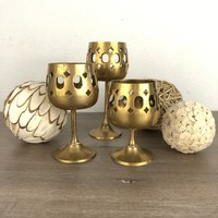 Brass Candle Holders Set of Three Footed with Cut Outs, Brass Votive or Tea Light Holders, Bohemian Boho Decor, Hollywood Regency