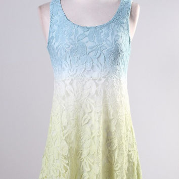 Ombre Lace Dress - Green/Blue/White