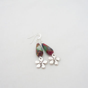 Gemstone Earrings, Multicolour Gemstone Earrings, Drop Earrings, Red and Green Dangle Earrings
