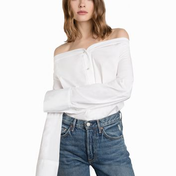 Pearl Button Off The Shoulder Shirt