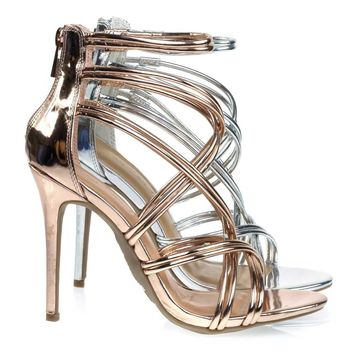 Royals42 High Heel Stiletto Sandal w Metallic Strap. Evening Party Shoe