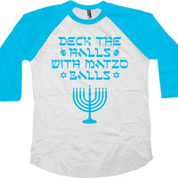 Funny Hanukkah Gifts For Chanukah T Shirt Holiday Present Jewish Clothing Hanukkah Menorah TShirt 3/4 Sleeve Baseball Raglan Sleeves - SA858