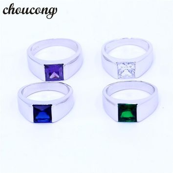 choucong 4 colors Birthstone Wedding ring for Men Princess cut 3ct 5A zircon cz 925 sterling silver Male Engagement Band Ring