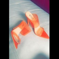 Sugar Baby Transparent Double Strap Pointed Toe Heels