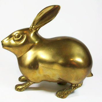 Brass Bunny Rabbit LARGE Solid Brass Metal Hollywood Regency Mid Century