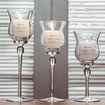 3PCS Glass Colum Candle Stand Modern Crystal Candle Holder