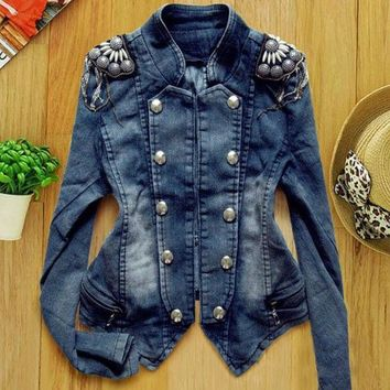 DCCKIX3 New Women's Denim Jean Trench Casual Coat Hoodie Jacket Hooded Jeans Outerwear  SV005836 (Size: XXS, Color: Blue) = 1902775620