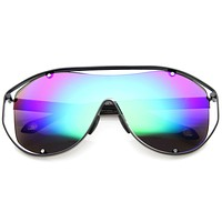 Retro Modern Mirrored Shield Lens Sunglasses A211