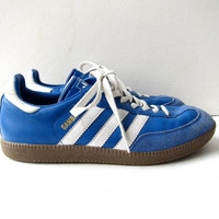 20% OFF SALE Vintage Adidas tennis shoes. Leather & suede Samba sneakers. Blue lace up sneakers. Soccer sporty shoes.