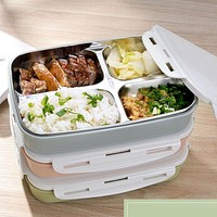 Portable 4-Grids Cute Mini Japanese Bento Lunch Boxs with Compartments Microwave Thermal Lunch Boxs Kids Picnic Food Container