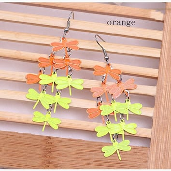 Women Girls  Dragonfly  Elegant  Colorful fashion personality  dragonfly earrings Drop Dangle Party orange Gift