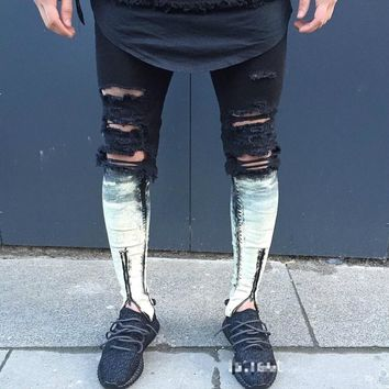 Ripped patchwork Zipper Jeans For Men Skinny Distressed Slim Famous Brand Designer Biker HipHop Swag Tyga White Black Slim Jeans