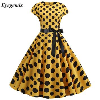 Yellow Polka Dot Print Summer Dress Vintage Women Swing Rockabilly Dress Robe Femme Elegant Party Plus Size Casual Midi Vestidos