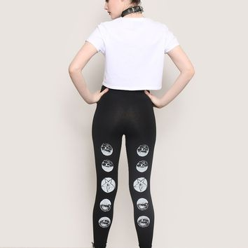 Phases Of The Moon Leggings - Bottoms - Clothes at Gypsy Warrior