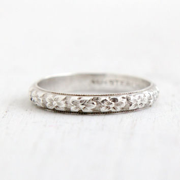 Antique Art Deco Sterling Silver Orange Blossom Ring - Size 6 Flower Milgrain Eternity Wedding Band Signed Uncas Forget Me Not Jewelry