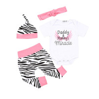 Baby Girls 4PCS Clothing Sets Newborn Rompers Pants Leggings Hat Outfit