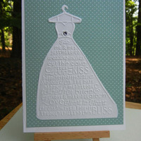 Wedding Card, Engagement Card , Bridal Shower Card - Embossed Wedding Gown, Personalized Option