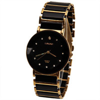 Black and Gold Rhinestone Quartz Watch