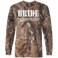 """Bride - Hunt Is Over"" Long Sleeve Camo T-Shirt (Men's SIzes)"
