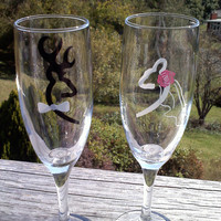Browning Deer Bride and Groom Wedding Champagne Flutes, Toasting Glasses