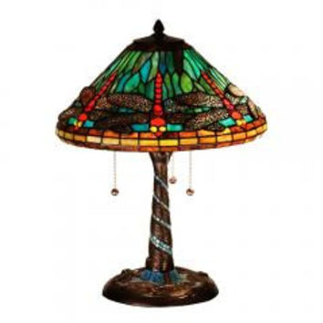 "Meyda Home Indoor Bedroom Decorative 21""H Tiffany Dragonfly W/Twisted Fly Mosaic Base Table Lamp"