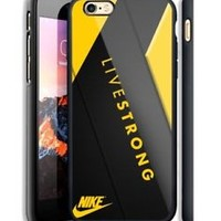 New Nike Yellow Live Strong iPhone 6s 7 8 X Plus Print On Hard Plastic Case