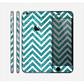 The Teal & White  Sharp Glitter Print Chevron Skin for the Apple iPhone 6 Plus